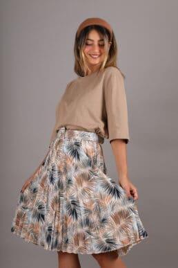 חצאית פליסה פרחונית+ חגורה